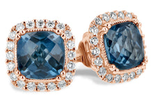Load image into Gallery viewer, London Blue Topaz Earrings Cushion Cut