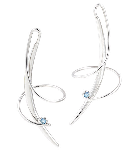 Silver and Blue Topaz Swirl Earring