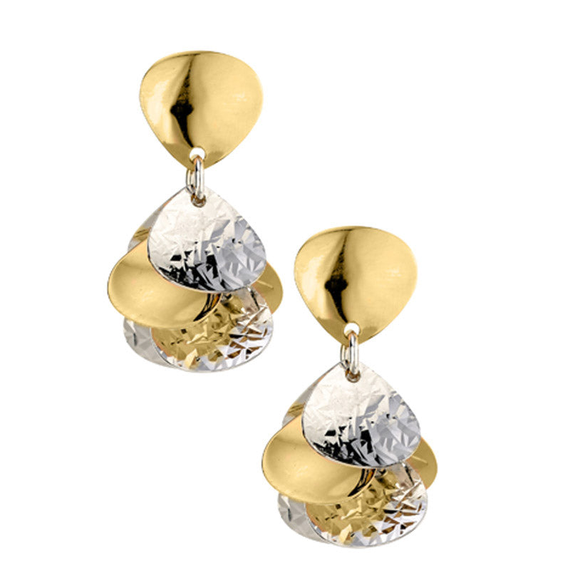 Silver and Yellow Gold Plated Cluster Earrings