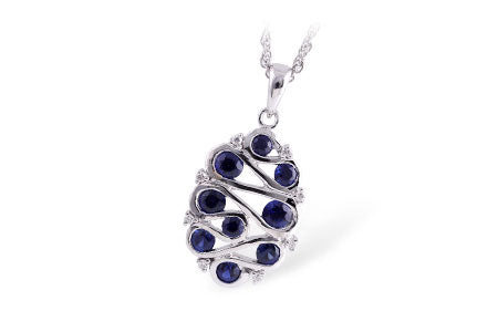 Swirl Sapphire and Diamond Halo Necklace