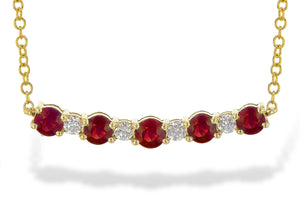 Ruby and Diamond Bar Necklace