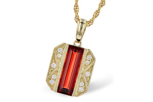Art Deco Style Garnet and Diamond Necklace