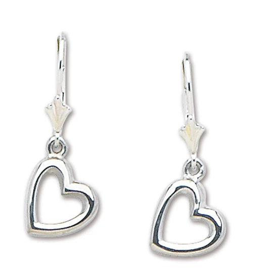 Heart Leverback Drop Earrings