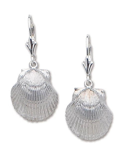 Scallop Leverback Drop Earrings