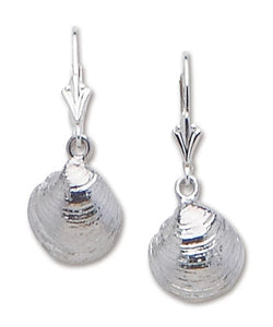 Clam Leverback Drop Earrings