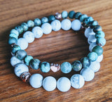 African Turquoise and Howlite Bracelet Set