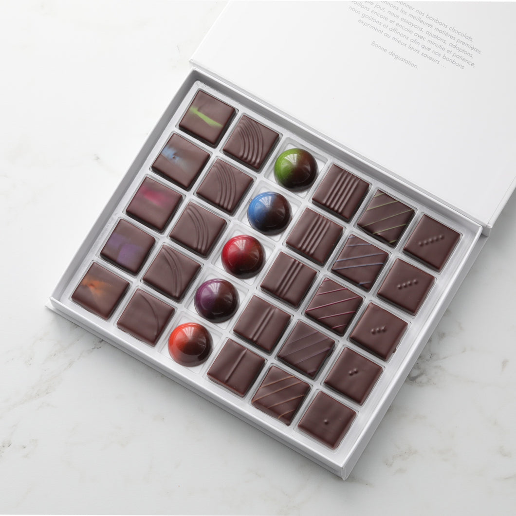 Coffret signature disponible en coffrets de 30/60 chocolats