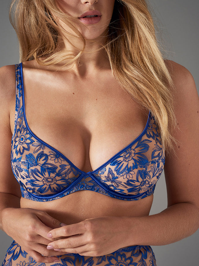Columbia Road | Luxury Blue Lace Designer Lingerie Set | Myla