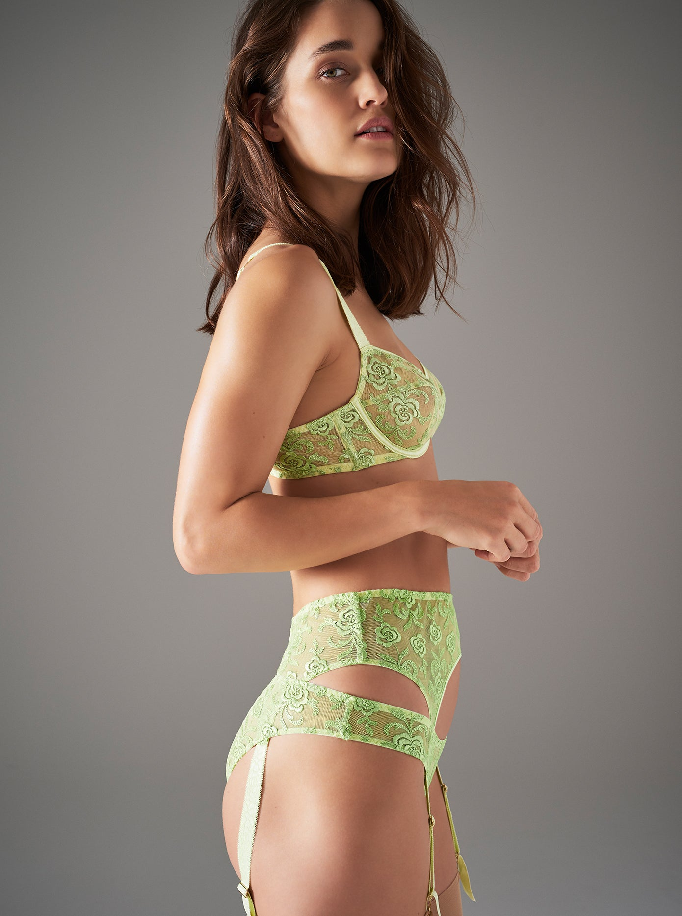 Floral Street | Luxury Green Floral Lace Lingerie Set | Myla