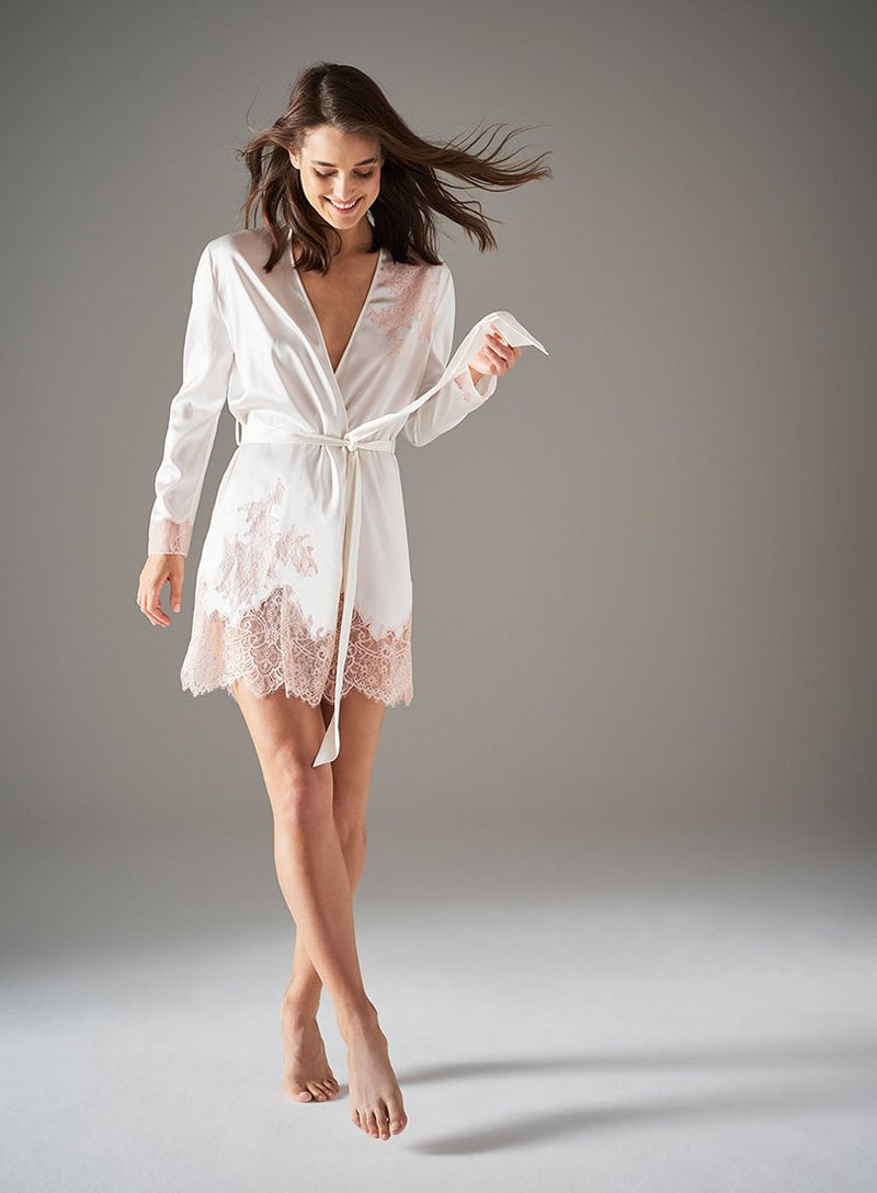 Alma Square Short Gown | Ivory and Pink | Myla | Nightwear