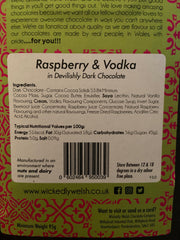 Raspberry and Vodka in Devilish Dark Chocolate Bar