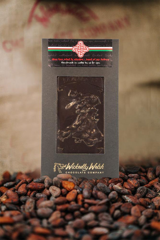 """Hen Wlad Fy Nhadau""  ""Land of My Fathers""  Dark Chocolate Map of Wales"
