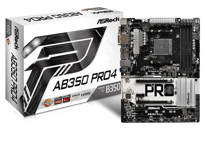 ASRock AB350 Pro4 AMD B350 So.AM4 Dual Channel DDR4 ATX Retail - digi-cv