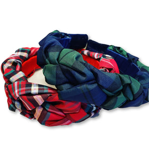 Tartan Plaid Satin Braided Headband