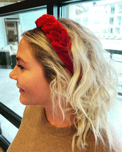 Load image into Gallery viewer, Bright Red Velvet Braided Headband