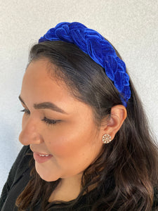 Basic Royal Blue Velvet Braided Headband
