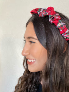The Valentina Crinkle Headband in Red Plaid