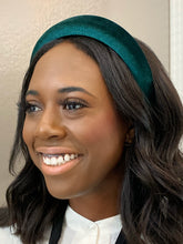 Load image into Gallery viewer, The Elizabeth Emerald Green Velvet Padded Headband