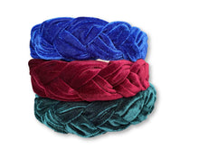 Load image into Gallery viewer, Basic Royal Blue Velvet Braided Headband