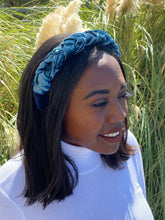 Load image into Gallery viewer, Steel Blue Velvet Braided Headband