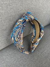 Load image into Gallery viewer, The Kate Blue Jacquard Knotted Headband