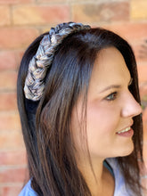 Load image into Gallery viewer, Black, White and Gold Jacquard Braided Headband
