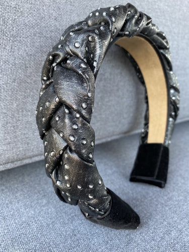 Grey Dotted Leather Braided Headband