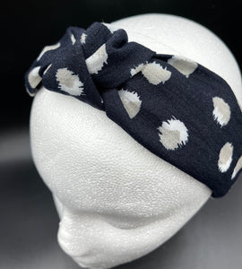 The Kate Linen Dot Knotted Headband