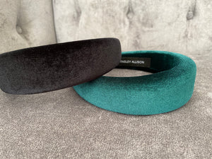 The Elizabeth Black Velvet Padded Headband