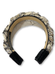Black, White and Gold Jacquard Braided Headband
