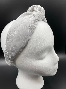 The Kate Silver Print Knotted Headband