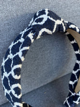 Load image into Gallery viewer, The Kate Navy Windowpane Knotted Headband