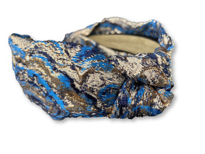 The Kate Blue Jacquard Knotted Headband