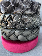 Load image into Gallery viewer, Grey Dotted Leather Braided Headband