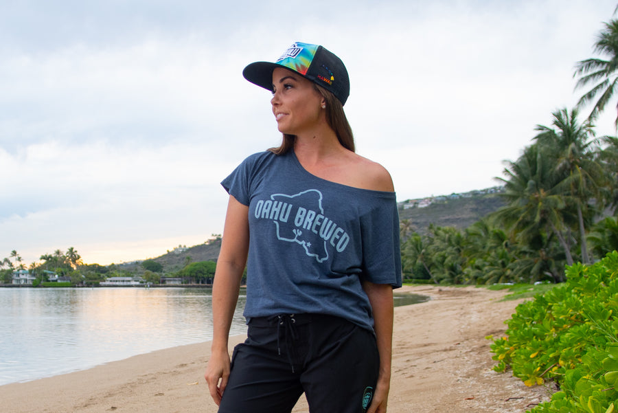 Women's Oahu Brewed Blue Dolman Top
