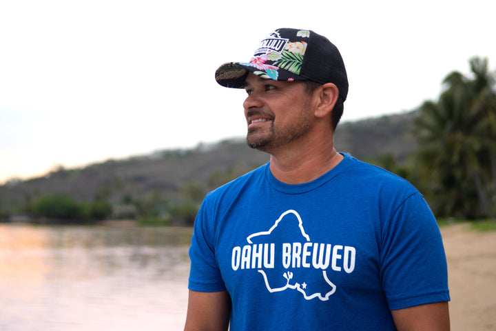 Men's Oahu Brewed Blue T-Shirt