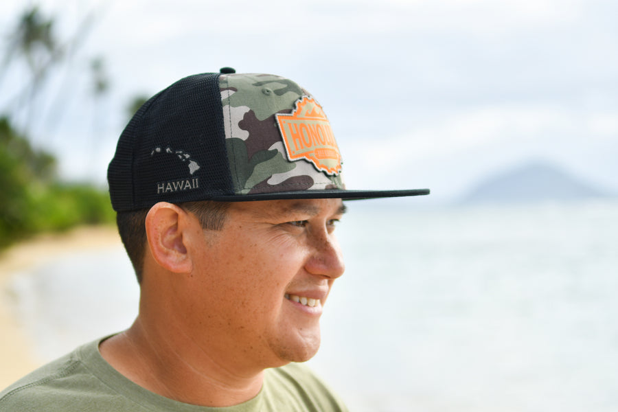 Flat Bill Trucker (Camo/Orange)