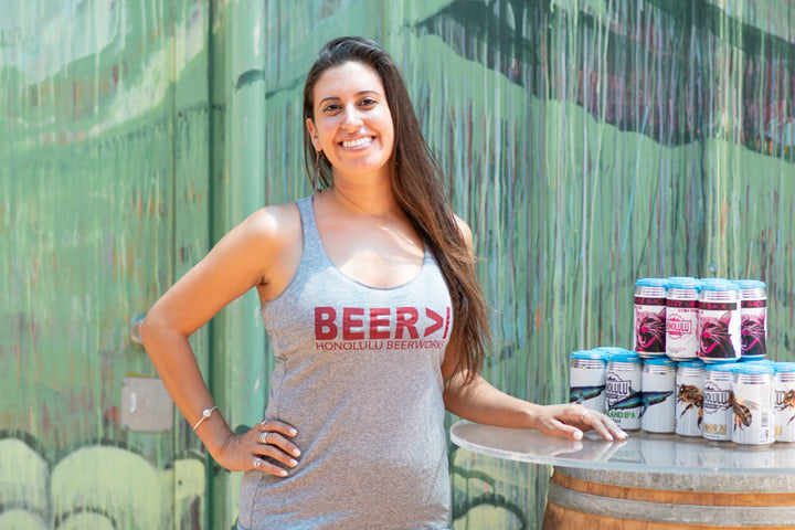 Women's BEER>I Heather Grey Tank