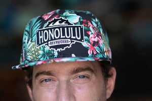 Flat Bill Black Hawaiian Print Hat (Hawaiian)