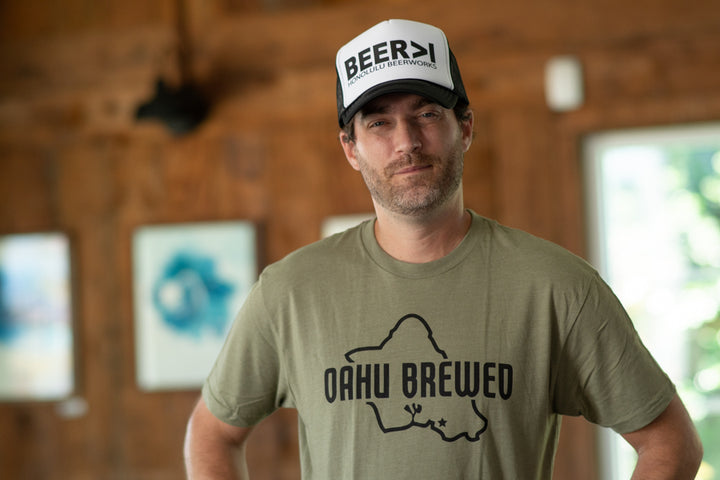 Men's Oahu Brewed Olive T-Shirt