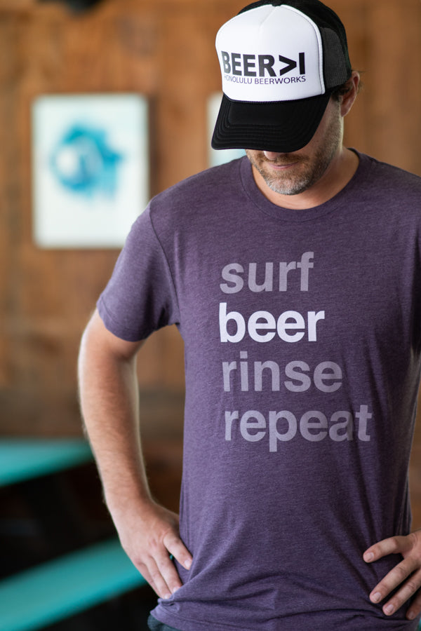 Men's Surf Beer Rinse Repeat Purple T-Shirt
