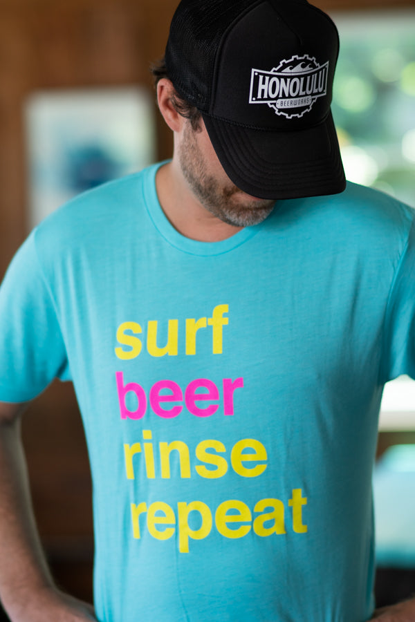 Men's Surf Beer Rinse Repeat Blue T-Shirt