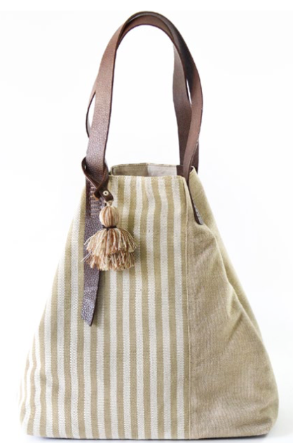 Olive block striped bag