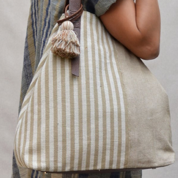 Striped triped bag (olive)