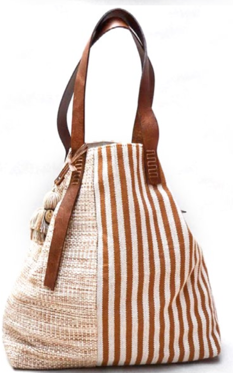 Terra-cotta  block striped bag