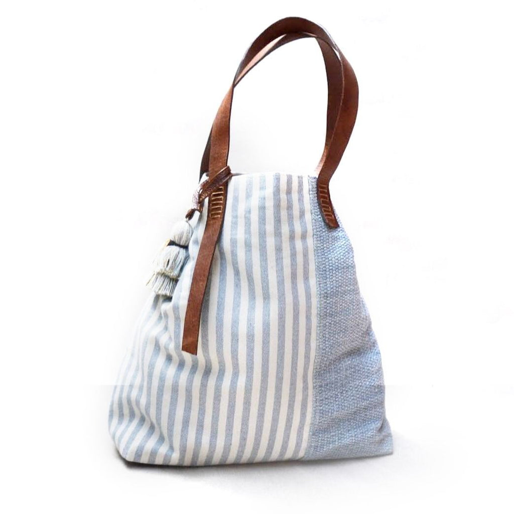 Blue block striped bag