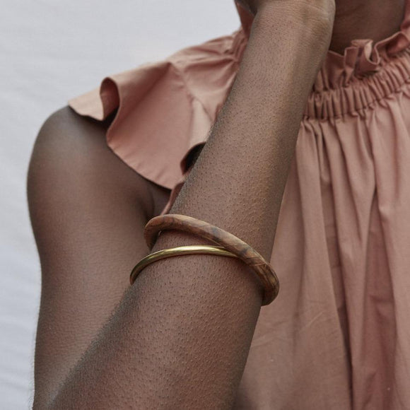 J-Brass and Teak Interlocking Bangles