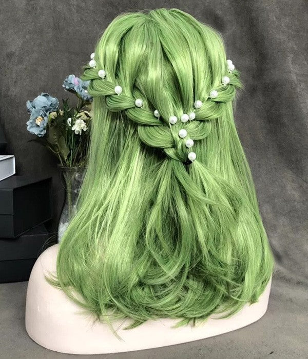 Poison Ivy / Bright Lime Green Synthetic Cosplay Lace Front Wig