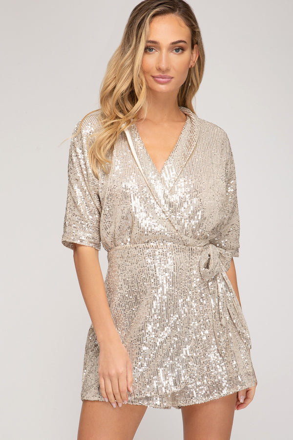 Pop The Top Sequin Romper