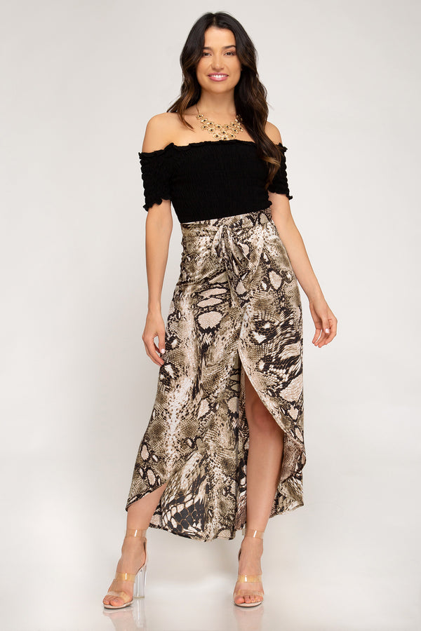 Preys On You Snake Wrap Skirt